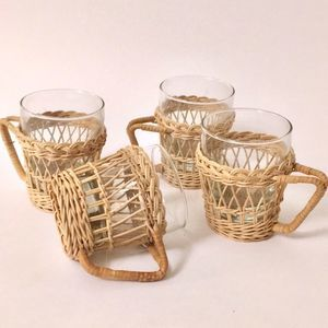 Vintage Woven Wicker glass Cup Holders - Lot 4 EUC